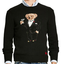 new Polo Ralph Lauren Tuxedo Martini Teddy Bear wool sweater, mens, L, MSRP $395