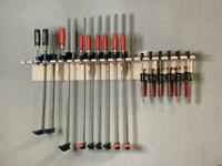Bar Clamp Tool Holder 20-Slot Garage Storage Rack Wood Shelf Organizer