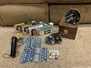 "Graflex Graflite 5"" Reflector Sylvania Blue Dot 25b AG1 flash bulbs lot camera"