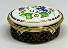 "Spode English Enamel Box - Assorted Multi-Colored Flowers - ""Stretton C.1818"""