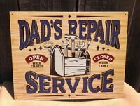 Dad's Repair Service Vintage Tin Metal Sign Classic Car Hot Rod Garage Shop