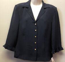 New $164 Women's 6 Talbots Pure Slik Button Front Princess Seamed Navy Blouse