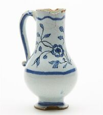 ANTIQUE DELFT TIN GLAZED FLORAL PAINTED JUG 17/18TH C.