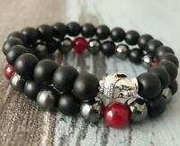 8mm Hematite obsidian bracelet pray Wrist mala Monk Lucky Handmade Unisex
