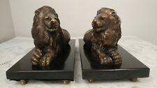 Vtg Set of 2 Brass Lion's Mounted On Footed Marble Base Figurine Statuette's
