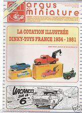 ARGUS MINIATURE N°180 07-08/1996 COTATION DINKY TOYS 1934-1981