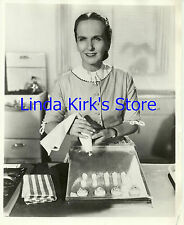 Dione Lucas Photograph With Pastry Bag & Cookies On Cooking Show Set CBS-TV B&W
