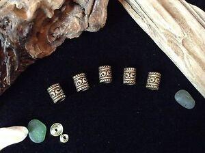 5 Bronze Dreadlock Beads 5mm Hole Elven Dread Tubes Viking Celtic Beard Beads
