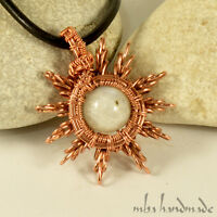 Natural Moonstone Crystal Star Necklace Wire Wrapped Artisan Jewelry