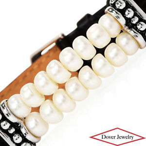 HONORA Pearl Sterling Silver Genuine Leather Bracelet 17.8 Grams NR