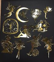 HUGE LOT!  GOLD TONE FAIRY /FAIRIES SILHOUETTE DIE CUT/ CUTS -BREATHTAKING-LOT 1