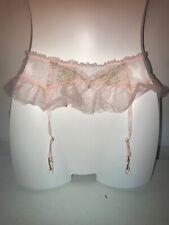 Victoria Secret Dream Angels Pink Gold Tulle Tutu Garter Belt Sheer Ruffles M/L