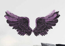 """NEW 24"""" x 12"""" Hot Pink & Black Feather Angel Wings Vinyl Wall Decor Decals"""