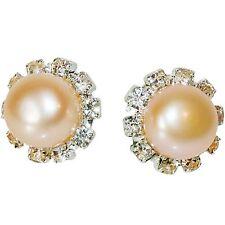 Ohrstecker Rund Kunstperle Perle Rosa mit Strass Weiß Ohrringe Damen Stecker