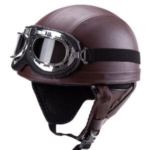 Half helmet leather helmet with ear cover  retro vintage for dirt bike helmet