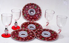 Party Pack Set-4 Dipping Appetizer Plates and Wine Glasses Christmas Holiday  #2