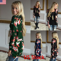 NE Women Floral Jacket Ladies Casual Long Sleeve Open Cardigan Coat Top Outwear