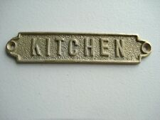 """ORIGINAL HEAVY DUTY COMMERCIAL/CRUISE SHIP SOLID BRASS PLATE  """"KITCHEN"""""""