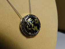 "Apache Goldenite & Real Black Diamonds Platinum/925 18"" Pendant Necklace"