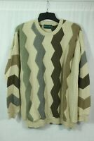VTG Tundra Canada Bold Knit Sweater Men's XL Pullover Crew Cosby Hip Hop Style