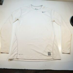 NIKE PRO COMBAT DRI FIT FITTED LONG SLEEVE JERSEY TEE T SHIRT Mens M White