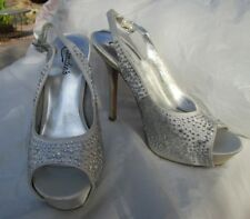 NEW sexy stiletto heels platform shoes size 7 silver bling sparkle rhinestone