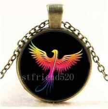 Vintage Phoenix rising flame colors Cabochon Glass Bronze Chain Necklace