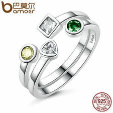 Bamoer Solid .925 Sterling Silver open Ring With Clear CZ Simple style For Women