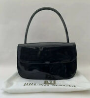 Bruno Magli Patent Leather Handbag Suede & Blue Fabric Lining Protective Bag
