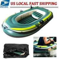 Inflatable 3 Person Floating Boat Raft Set with 1 Pair of Rope & 2 Cushion Green