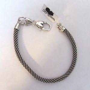 "Brighton Beverly Glam Mesh Charm Bracelet- silver color-8"" long"