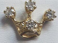 14 KARAT YELLOW GOLD , DIAMOND SINGLE CROWN EARRING .