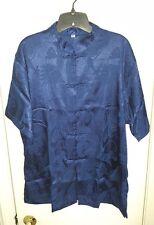 Men's Navy Blue Oriental Chinese Kung-fu Style 100% Silk Shirt Size XXL NEW*