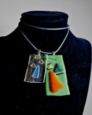 """2 FOILED ART GLASS PENDANTS WITH ONE GRAYISH BLACK RUBBER CORD /925 CLASP 20"""" L"""
