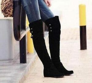 Women Leisure Fashion Flat Over The Knee Thigh High Boots Velvet Wedge Heel Chic