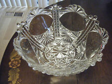 Pressed Glass Serving Bowl Footed  Scalloped Edge Vintage