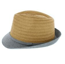 Summer Straw Trilby Hat with Contrasting Brim 58cm or 60cm