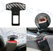 Carbon Fiber Safety Seat Belt Buckle Insert Alarm Stopper Eliminator Clip-Black