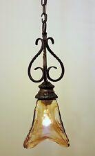Western Old World Bronze Ceiling Mini Pendant Island Light Rustic Swirl Glass