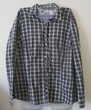 Womens L.L. Bean LL Large Purple Plaid Ruffle Button Up Top Long Sleeve Fall EUC