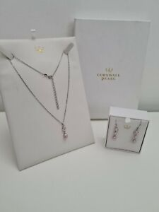 Cornwall Pearl Sterling Silver 925 Pink Pearl Pendant Necklace And Drop Earrings