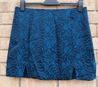 NEW LOOK BLUE BLACK FLORAL SLITS SIDES A LINE TUBE PARTY RARE PARTY SKIRT 12 M
