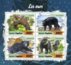 Togo - 2019 Bears on Stamps - 4 Stamp Sheet - TG190562a