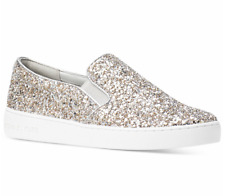 New Michael Kors KEATON Glitter Slip On Sneakers Women's Shoes Silver Champagne