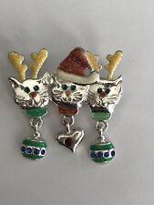 Vintage Christmas Cats Dangling Charms Enamel Rhinestone Silver Tone Brooch Pin