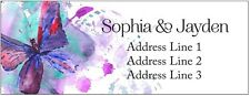 30 Personalized Custom Address Labels fuchsia turquoise Butterfly cute Stickers