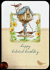 Beautiful Birds Birdhouse Flowers - RELIGIOUS Belated Birthday Greeting Card NEW