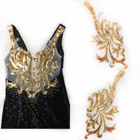 Golden Sequin Neckline Patch Sew on Clothes Gold Embroidery Applique Flowers DIY