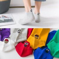 Socks Embroidered Expression Women Fashion Ankle Funny Socks Ladies Cotton Sock
