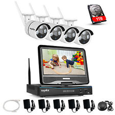 "SANNCE 4x 720P WIFI 10"" LCD Monitor 1TB Home Security Camera Wireless NVR System"
